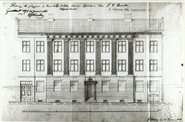 Korsgatan 3, fasadskiss från arkiven